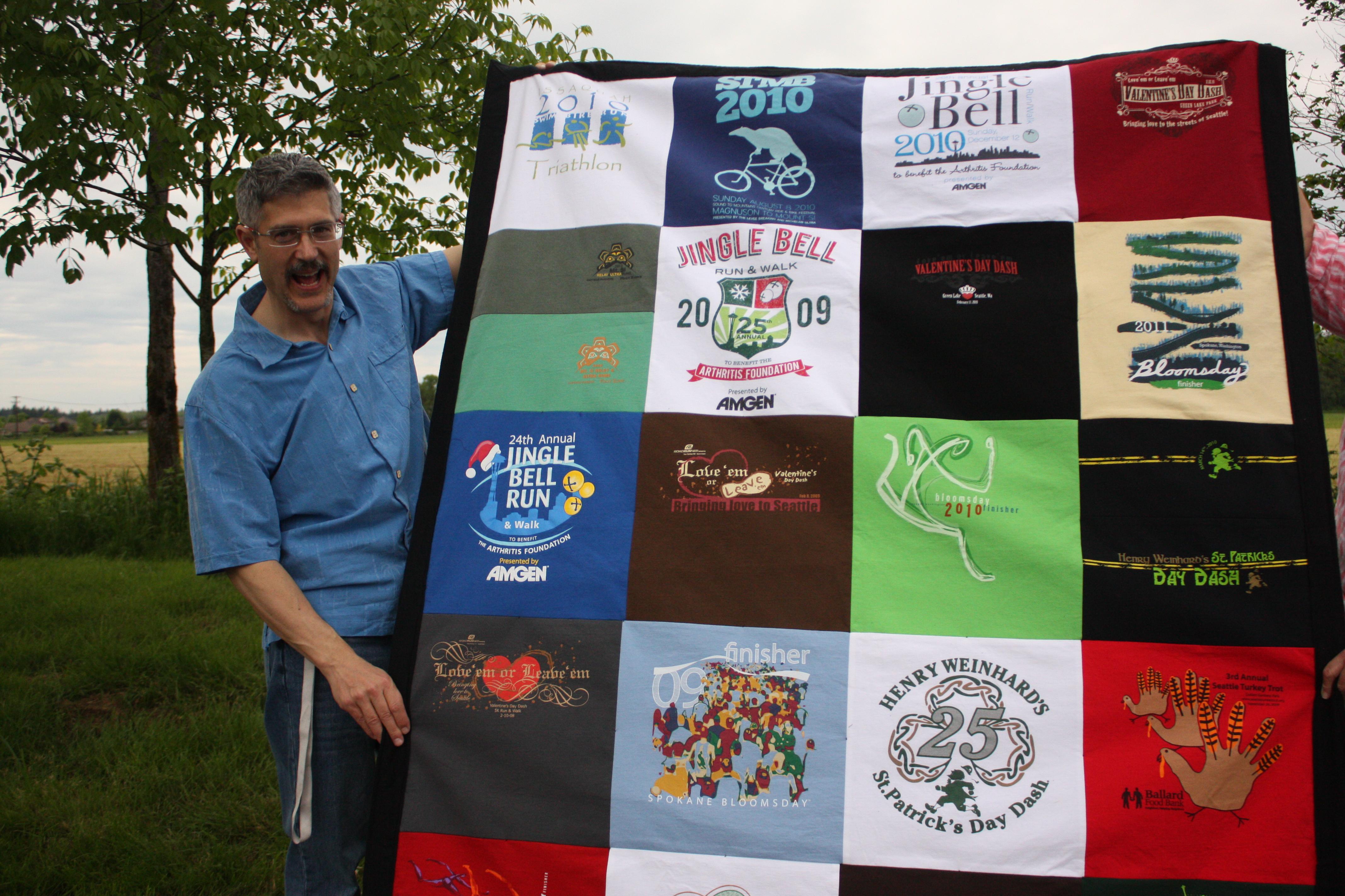 marathon 5k runner t-shirt quilt